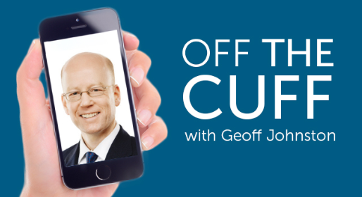 "A hand holding a smartphone containing a close-up photo of a businessman next to the text ""Off the cuff with Geoff Johnston"""